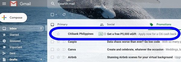 Gmail ad in the inbox
