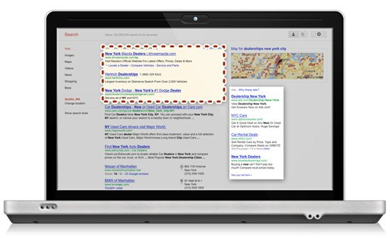 Organic Search Results with Google Business Map