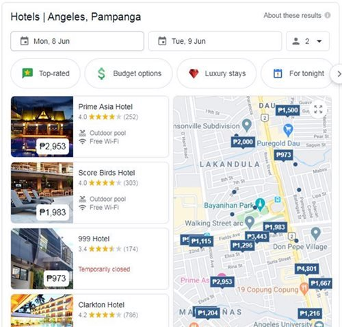 Local SEO services sample where hotels at Clark Angeles are compared on Google Maps with prices