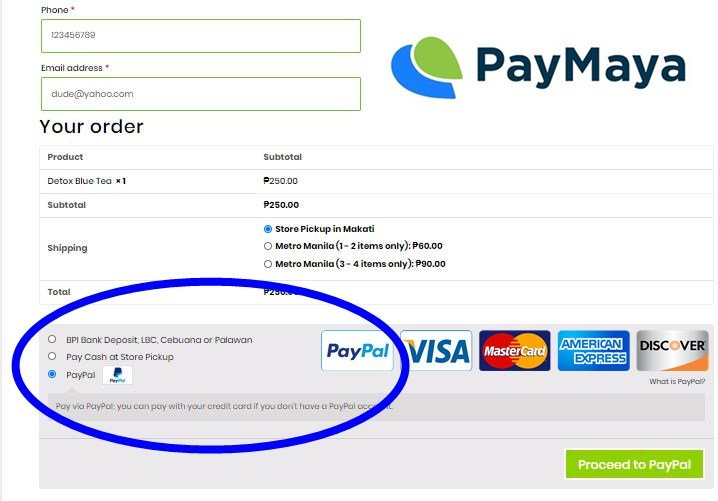 payment page of Pilgrim's tea with payment gateways